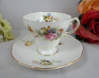 1950s Foley English Bone China Teacup Footed English Teacup and Saucer - Elegant Tea Cup