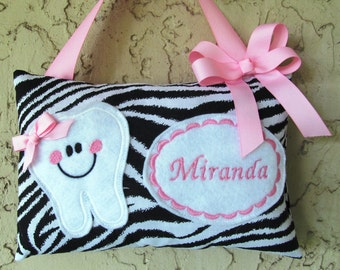 Tooth Fairy Pillow Girls Zebra Print Toothfairy Personalized