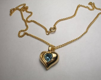 Vintage PAKULA Heart with Blue Rhinestone Gold Tone Necklace
