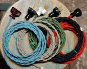 8 Foot Cloth Wire w/ Plug Attached, 26 Color Options, Twisted Cord, Vintage Re-Wire Kit, Lamp Electrical Cord, light socket wire