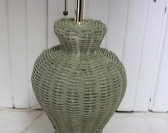 Vintage Green Painted Wicker Bed  Bedside Electric  Lamp