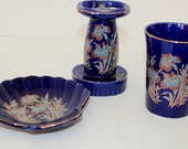Vintage Blue- 3 Piece Bathroom set / cup / soap dish / tooth brush holder