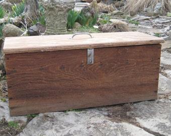 Vintage wood tool box, wood chest, vintage hand made tool box, Large wood box