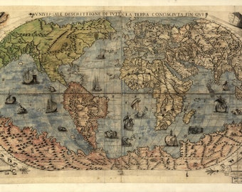 World map, Old maps, World map print , 107