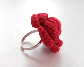 "Crochet rose ring - raspberry red - ""Rose Garden"" collection"