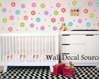 Flower Wall Decal Pattern - Flower Wall Sticker Pattern - Nursery Wall Decal