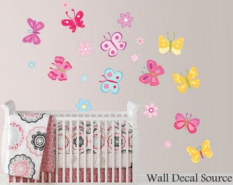 Butterflies Wall Sticker, Butterflies Decals, flower Wall Decals, butterfly wall art, butterfly wall decor, Flower Decals, Butterfly Decals