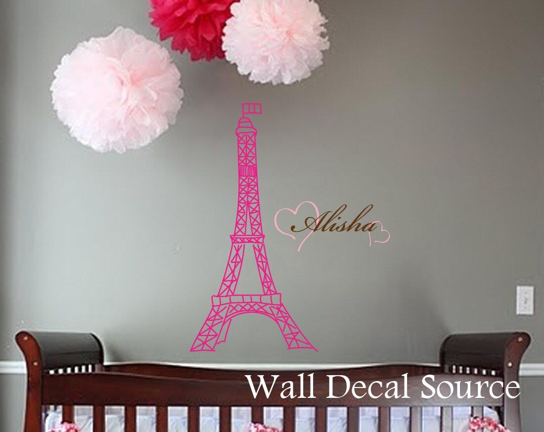 Eiffel Tower Wall Art eiffel tower wall decal wall art decal girls name wall