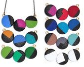 Geometric Black High Gloss Necklace - Hand Painted