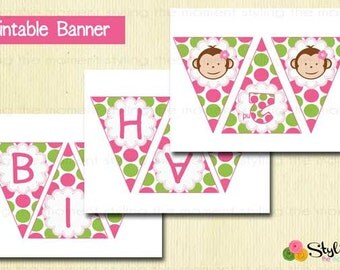 Printable Banner Pink Mod Monkey