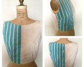 Vintage 1950s JD rocknroll cropped striped two tone top S