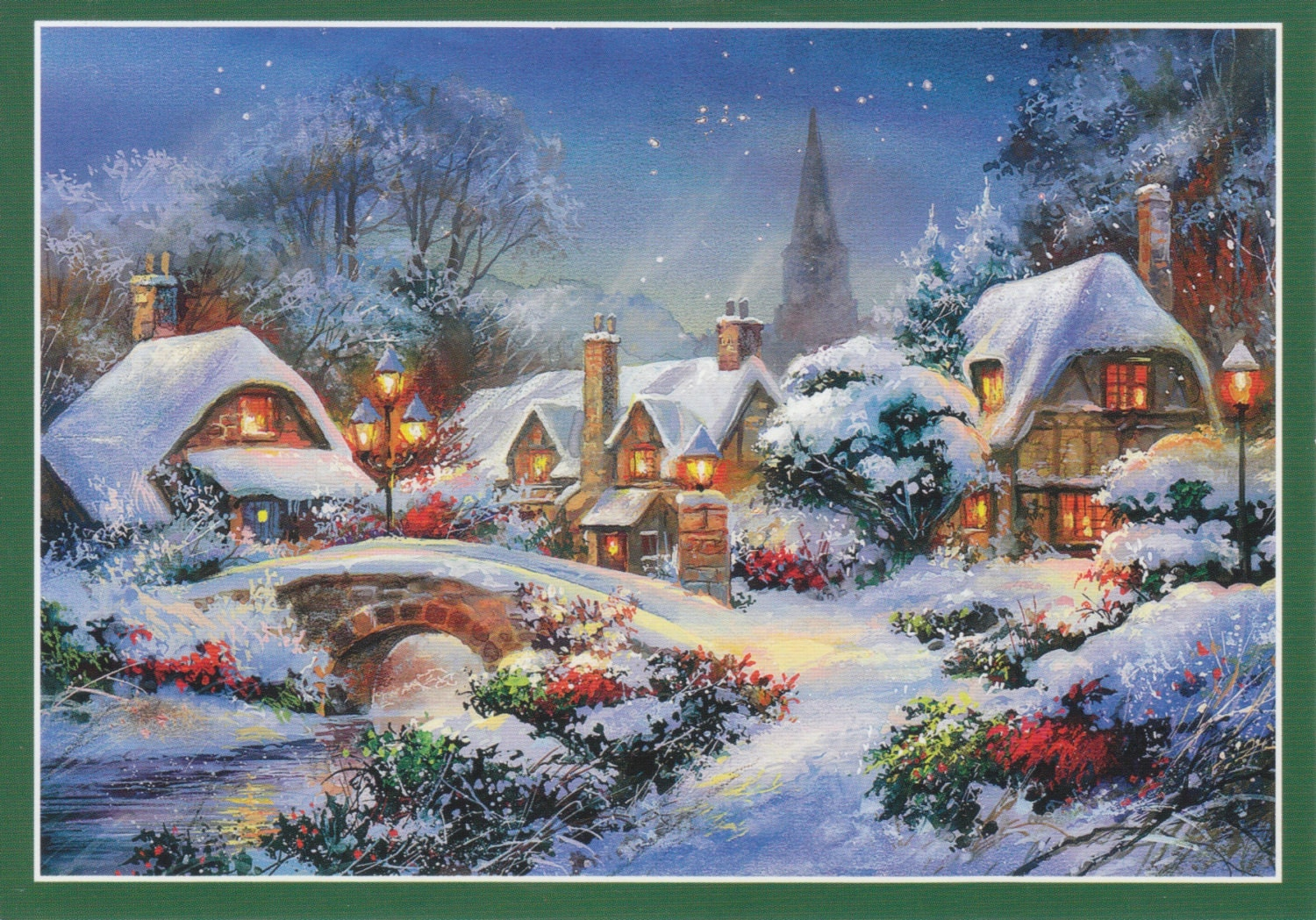 vintage CHRISTMAS VILLAGE snowy houses POSTCARDS by ...