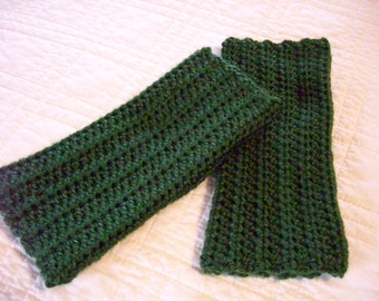 Crocheted Fingerless Gloves Green