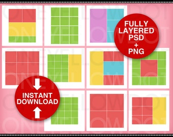 30 photo templates 12x12 instant download psd layers 10 layout templates in psd and png layers 12x12 digital scrapbook sharp and pronofoot35fo Gallery