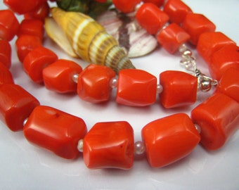 bamboo coral and fresh water pearl necklace