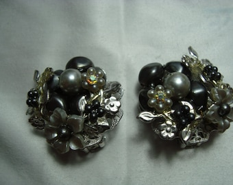 Vintage AB Crystal Silver Black Pearl Lucite Floral Clip Earrings