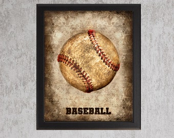 Baseball - photo print - Type Poster Wall Art Textured Distressed Beige Tan Black Vintage Sports Dad Fathers Day Grad Baby Boy Nursery Decor