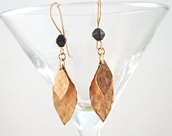 Hammered Copper Layered Leaf Earrings