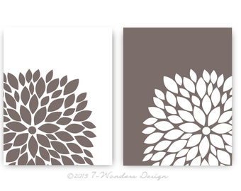 "Flower Bursts Botanical Prints -SET of (2) - 11"" x 14"" Digital Fine Art Modern Wall Art Prints Home Decor"