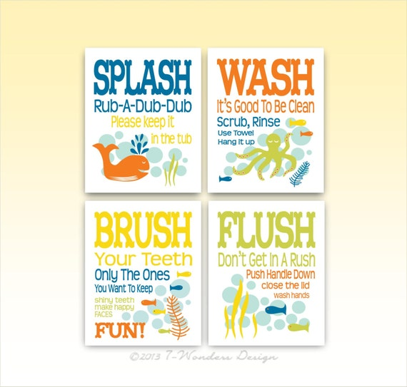 "Items Similar To Childrens Kids Bathroom Art Prints Set Of (4) 5"" X 7"" Fine Art Home Decor"
