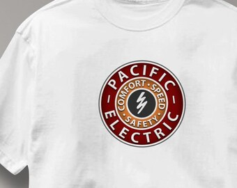 Pacific Electric Railway T Shirt Vintage Logo Railroad Train Tee Shirt Mens Womens Ladies Youth Kids