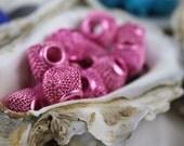 Basketball Wives Diamond Mesh Beads. 12 Pink Fancy Beads for Earrings