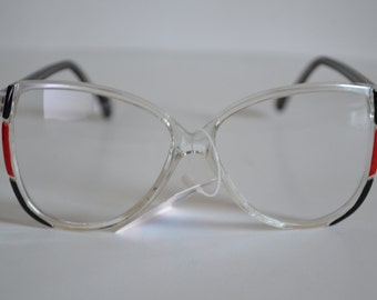 Vintage Black and Red and Clear Handmade D-frame Optical Frame