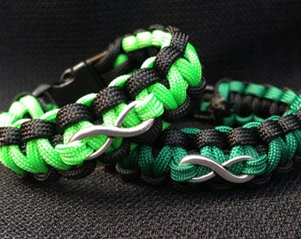 Customizable Paracord Bracelet with Infinity Charm (Cobra Weave)