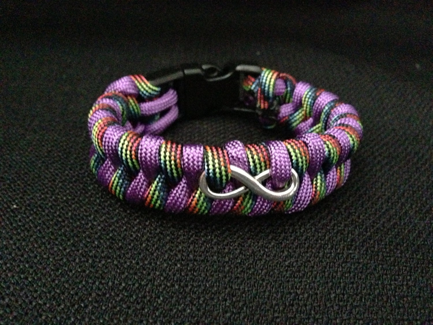 customizable paracord bracelet with infinity charm fishtail