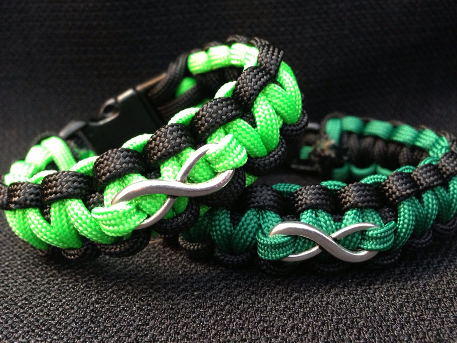customizable paracord bracelet with infinity charm cobra