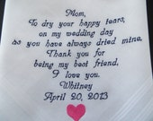 Personalized wedding handkerchief for the mother of the bride