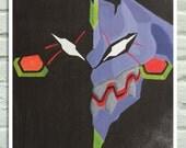 "Poster 12""x17""-  Unit Eva 01, laser print of my original anime painting, Neon Genesis Evangelion inspired, minimalist poster"