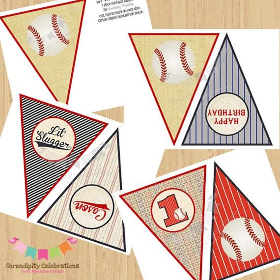 DIY Printable Banner- Birthday Pennant Banner - Vintage Baseball ...