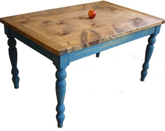 Custom Table, Farm house Harvest style, Turned legs, Distressed Antique Finish, Milk Paint