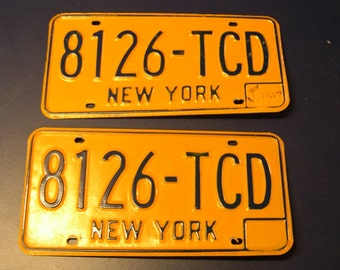 Pair of Vintage NY License Plate - 1973 to 1986