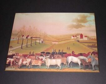 Vintage Folk Art Farm Wall Art - The cornell Farm Edward Hicks