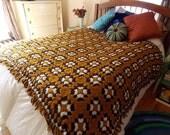 Golden, Granny Square Afghan, Blanket, Throw, Fringe, Mod, Retro