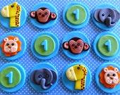 12 Fondant edible cupcake/cookie toppers - fondant safari animals, elephant, zebra, giraffe,leon,monkey,circus, jungle animals, farm animals