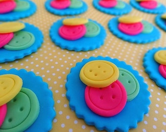 12 Fondant edible cupcake/cookie toppers - Buttons, custom colors, fondant buttons, baby shower, edible button, cute buttons