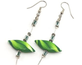 Polymer clay earrings, elegant earrings, leaf shaped beads, handmade earrings in greens and white stripes
