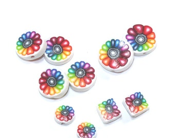 Colorful flower beads, unique set of 10 Polymer Clay rainbow beads, round flat beads