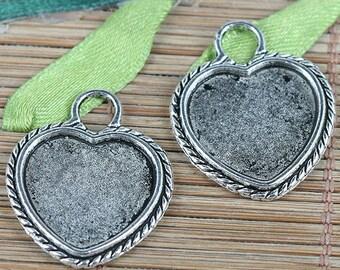 10pcs Tibetan Silver tone heart shaped cabochon settings charms EF0184