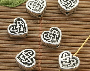 30pcs dark silver tone heart spacer beads 9.5mm h3889
