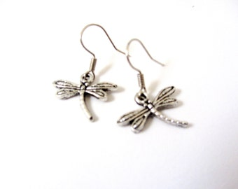 Dragonfly Dangles, Silver Toned Dragonfly, French Earwire