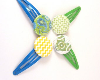 Button Hair Clips, Mod Accessories, Blue, Yello and Green, Paisley, Hearts, Chevron and Mod Buttons on Easy to Use Hair Clips