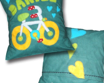 Bicycle Pillow, Kids Custom Name, Personalized Cushion