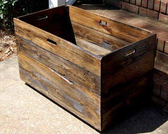 Oversized Wooden Crate from Reclaimed Wood/ Toy Chest/ Large Storage Box/ Office Decor