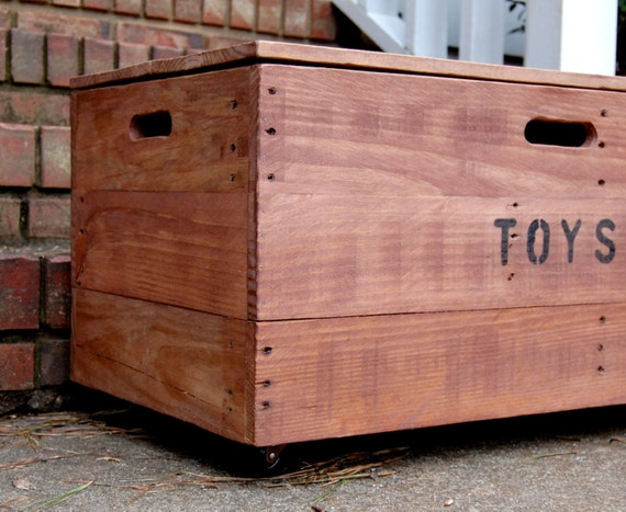 Wooden crate toy chest storage box