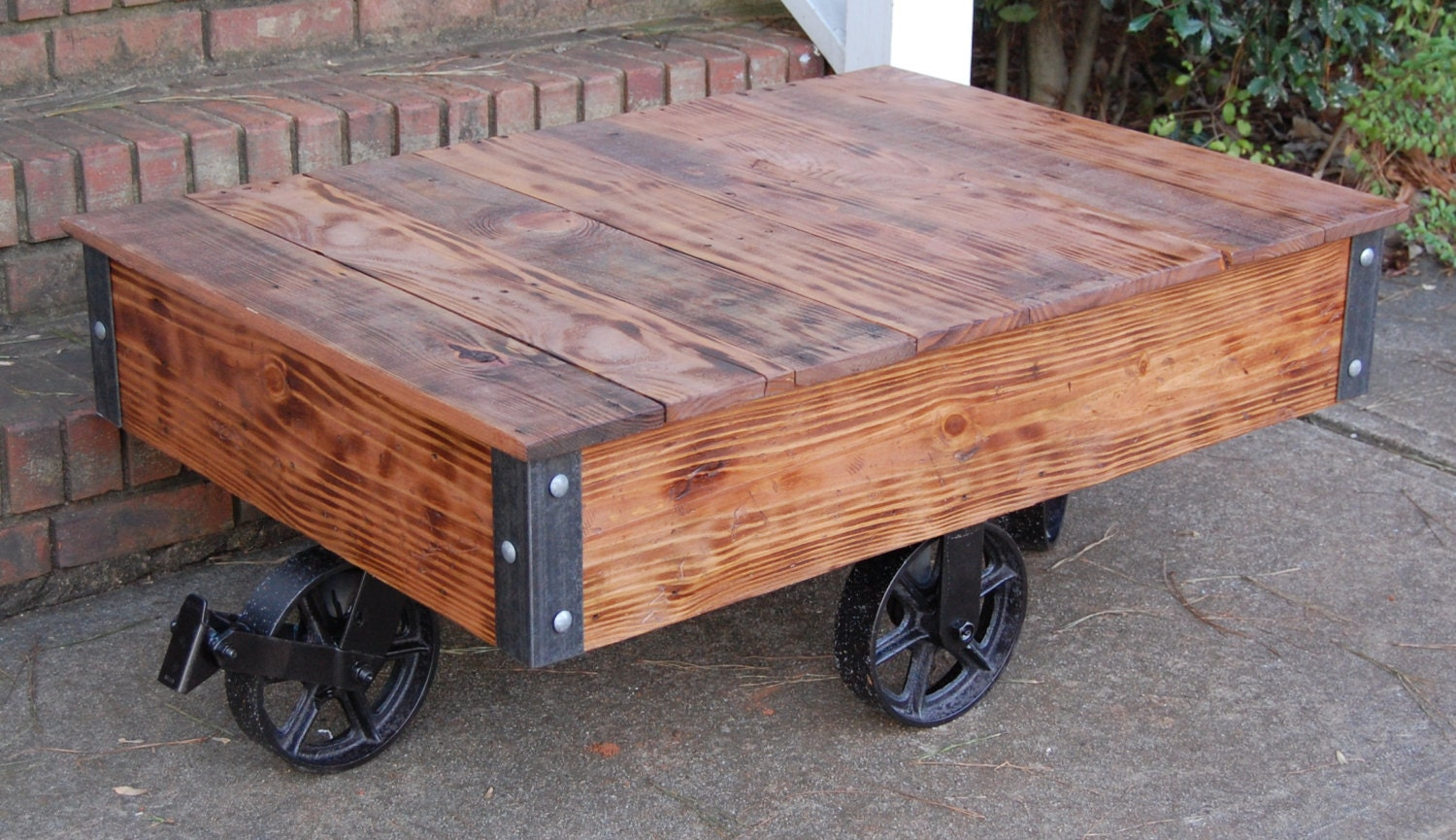 vintage style industrial cart / coffee table/factory cart table
