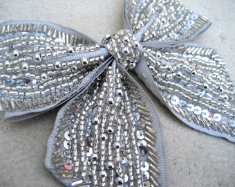 Bow tie Necklace - Silver Sequined Bow Necklace - Large Bow - Statement Necklace
